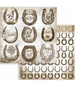 PAPIER ATELIER ROMANTIC HORSES HORSESHOE 30X30CM - SBB801 - STAMPERIA