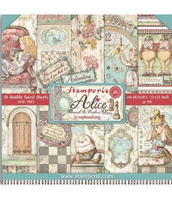 BLOC 10 FEUILLES ALICE THROUGH THE LOOKING GLASS 30.5 X 30.5 CM  SBBL93