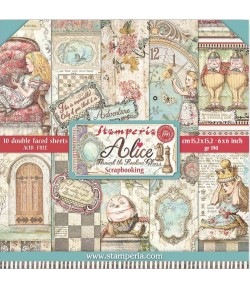 BLOC 10 FEUILLES ALICE THROUGH THE LOOKING GLASS 15.24X15.24CM - SBBXS02 STAMPERIA