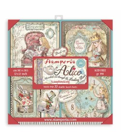 BLOC 22 FEUILLES ALICE IN WONDERLAND AND THROUGH THE LOOKING GLASS -  30 X 30 CM - SBBXL12 STAMPERIA