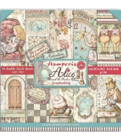 BLOC 10 FEUILLES ALICE THROUGH THE LOOKING GLASS 20.3X20.3CM SBBS42 STAMPERIA