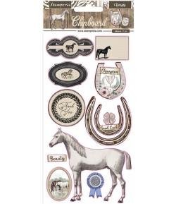CHIPBOARD ROMANTIC HORSES 15X30 - DFLCB31