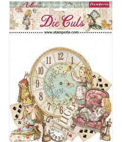 FORMES CARTON - DIE CUTS ALICE THROUGH THE LOOGING GLASS - STAMPERIA DFLDC46
