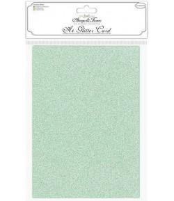 FEUILLES A4 GLITTER CARD - VERT X 10