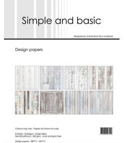 BLOC 8 FEUILLES 30.5 X 30.5 CM - WHITE WOOD - SIMPLE AND BASIC