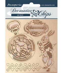 FORMES CARTON DECORATIVE CHIPS ALICE IN WONDERLAND 14X14CM - SCB50