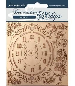 FORMES CARTON DECORATIVE CHIPS ALICE CLOCK 14X14CM - SCB74