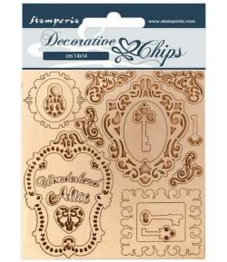 FORMES CARTON DECORATIVE CHIPS ALICE KEYS AND FRAMES 14X14CM - SCB75