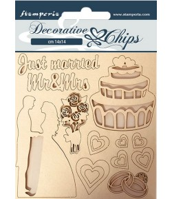 FORMES CARTON DECORATIVE CHIPS SLEEPING BEAUTY JUST MARRIED 14X14CM - SCB62