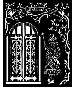 POCHOIR ALICE DOOR 20X25 EP 0.25 KSTD091 STAMPERIA