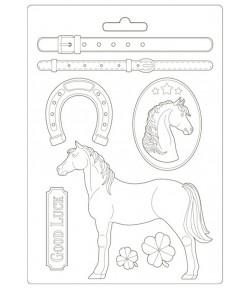 MOULE PVC FLEXIBLE ROMANTIC HORSES 21 X 29.7 CM - K3PTA4500
