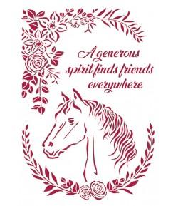 POCHOIR ROMANTIC HORSES WITH FLOWERS 21X29.7CM KSG471