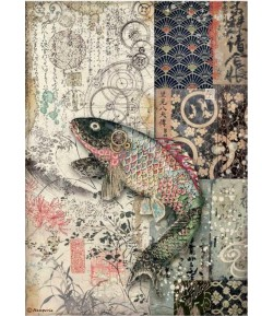 PAPIER DE RIZ A4 SIR VAGABOND IN JAPAN - FISH 21X29.7 - DFSA4609 - STAMPERIA