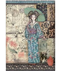 PAPIER DE RIZ A4 SIR VAGABOND IN JAPAN - LADY 21X29.7 - DFSA4612 - STAMPERIA