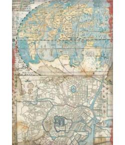 PAPIER DE RIZ A4 SIR VAGABOND IN JAPAN - MAP 21X29.7 - DFSA4610 - STAMPERIA