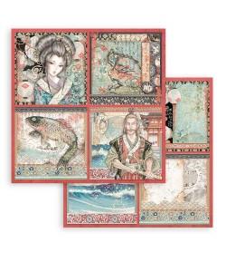 PAPIER SIR VAGABOND IN JAPAN 4 CARDS 30 X 30 CM - SBB832 STAMPERIA