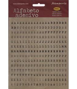 STICKERS ALPHABET  ET CHIFFRES NOIR FOND BEIGE X280