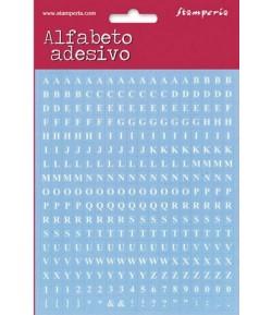STICKERS ALPHABET ET CHIFFRES BLANC FOND BLEU X306