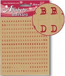 STICKERS ALPHABET ET CHIFFRES ROUGE FOND BEIGE X280