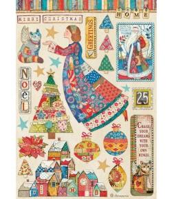 PAPIER DE RIZ A4 CHRISTMAS PATCHWORK ELEMENTS  21X29.7 - DFSA4587 - STAMPERIA