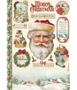 PAPIER DE RIZ A4 CLASSIC CHRISTMAS  21X29.7 - DFSA4593 - STAMPERIA