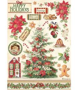 PAPIER DE RIZ A4 CLASSIC CHRISTMAS TREE  21X29.7 - DFSA4594 - STAMPERIA