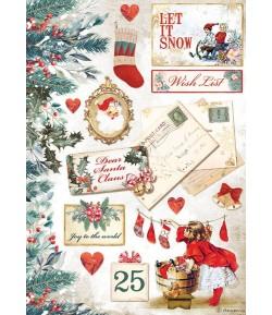 PAPIER DE RIZ A4 ROMANTIC CHRISTMAS CARDS  21X29.7 - DFSA4614 - STAMPERIA