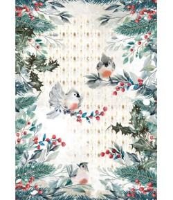 PAPIER DE RIZ A4 ROMANTIC CHRISTMAS BIRDS 21X29.7 - DFSA4634 - STAMPERIA