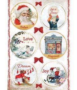 PAPIER DE RIZ A4 ROMANTIC CHRISTMAS ROUNDS 21X29.7 - DFSA4635 - STAMPERIA