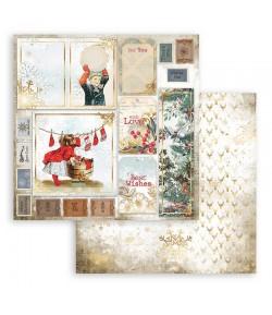 PAPIER ROMANTIC CHRISTMAS CARDS 30X30CM - SBB828 - STAMPERIA