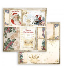 PAPIER ROMANTIC CHRISTMAS CARDS SANTA CLAUS  30X30CM - SBB829 - STAMPERIA
