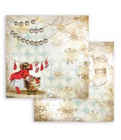 PAPIER ROMANTIC CHRISTMAS CARDS SOCKS  30X30CM - SBB830 - STAMPERIA