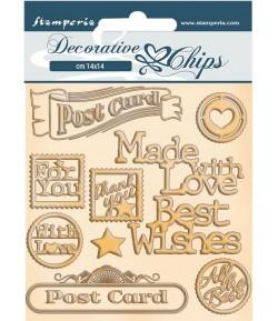 FORMES CARTON DECORATIVE CHIPS ROMANTIC CHRISTMAS POST CARD 14X14CM - SCB73