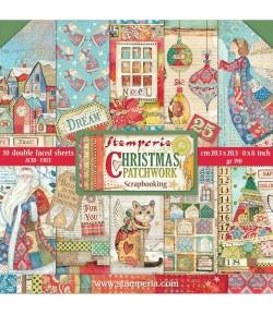 BLOC 10 FEUILLES CHRISTMAS PATCHWORK 20.3X20.3CM SBBS40 STAMPERIA