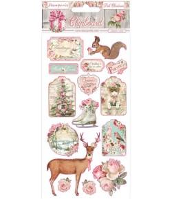 CHIPBOARD PINK CHRISTMAS 15X30 - DFLCB37 STAMPERIA