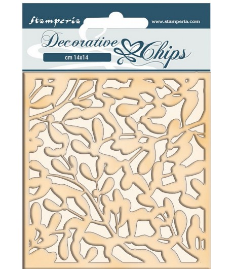 FORMES CARTON DECORATIVE CHIPS WINTER TALES LEAVES 14X14CM - SCB66