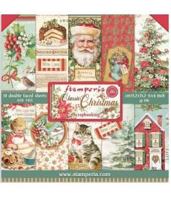 BLOC 10 FEUILLES CLASSIC CHRISTMAS 15.24X15.24CM - SBBXS06 STAMPERIA
