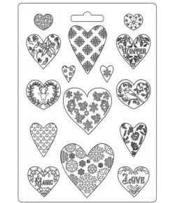 MOULE PVC FLEXIBLE CHRISTMAS PATCHWORK - HEARTS 21 X 29.7 CM - K3PTA4501