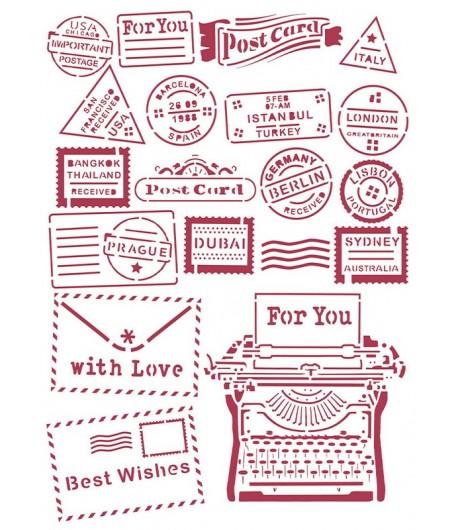 POCHOIR ROMANTIC CHRISTMAS TYPE WRITER 21X29.7CM KSG472