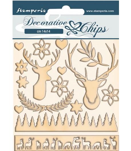 FORMES CARTON DECORATIVE CHIPS PINK CHRISTMAS DEER 14X14CM - SCB67