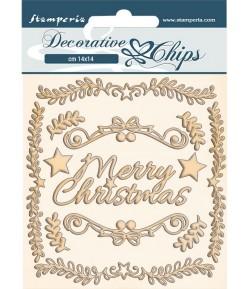 FORMES CARTON DECORATIVE CHIPS PINK CHRISTMAS FRAMES 14X14CM - SCB68