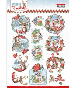 FEUILLE 3D WINTRY CHRISTMAS CD11709