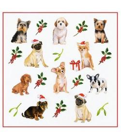 SERVIETTE CHRISTMAS DOGS