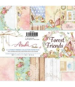 BLOC 12 FEUILLES 15.2  X 15.2 CM - FOREST FRIENDS - ASUKA STUDIO