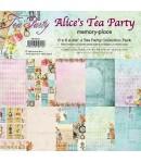 BLOC 12 FEUILLES 15.2  X 15.2 CM - ALICE'S TEA PARTY