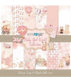BLOC 24 FEUILLES 17 X 17 CM - BABY GIRL WORLD
