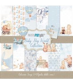 BLOC 24 FEUILLES 17 X 17 CM - BABY BOY WORLD