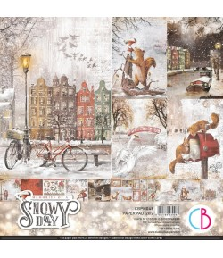 BLOC 12 FEUILLES MEMORIES OF A SNOW DAY CIAO BELLA 30X30CM CBPM048