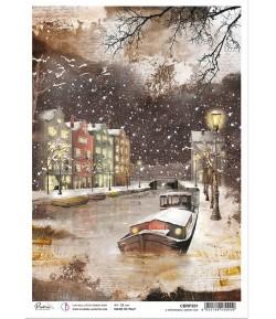 PAPIER DE RIZ A4 A MEMORABLE SNOWY DAY CARDS 21 X 29.7CM CIAO BELLA CBRP201