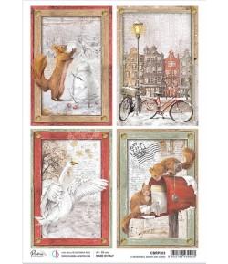 PAPIER DE RIZ A4 A MEMORABLE SNOWY DAY CARDS 21 X 29.7CM CIAO BELLA CBRP203